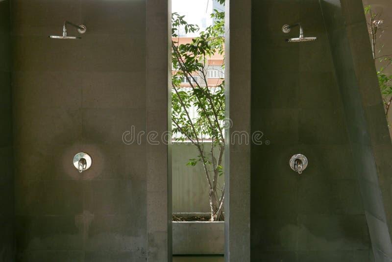 deux pommeaux de douche dans la salle de bains ext rieure de piscine image stock image du. Black Bedroom Furniture Sets. Home Design Ideas