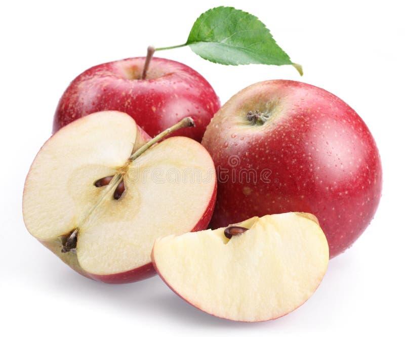 Deux pommes et parts rouges de pomme. photos libres de droits