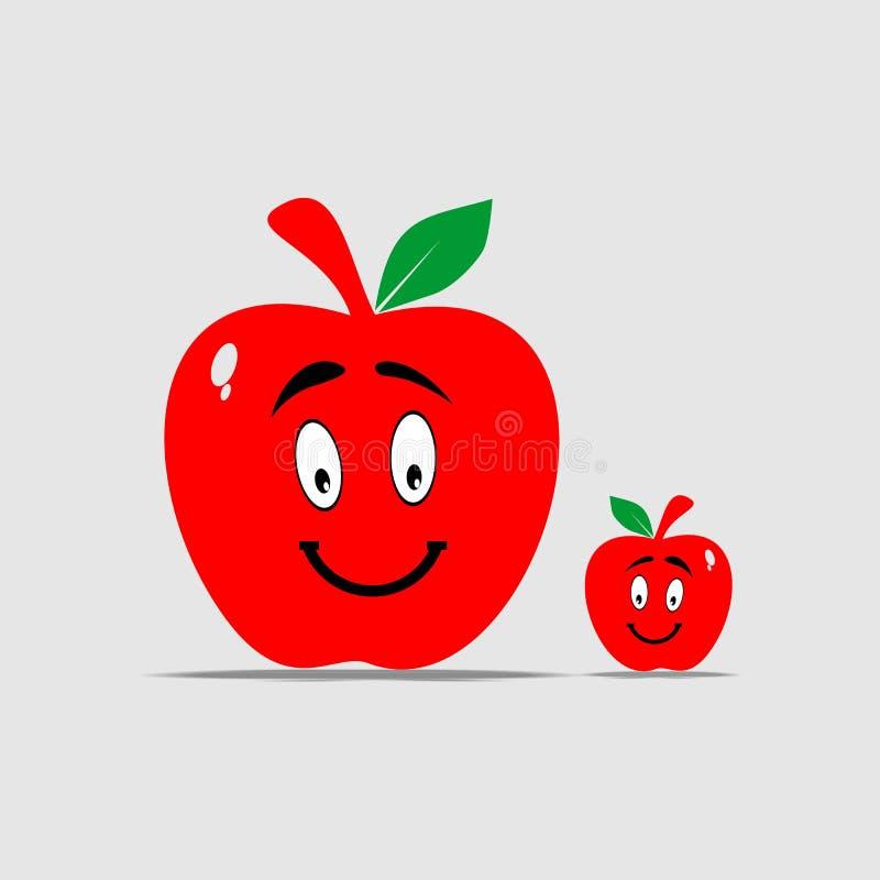 Deux pommes rouges de sourire image stock