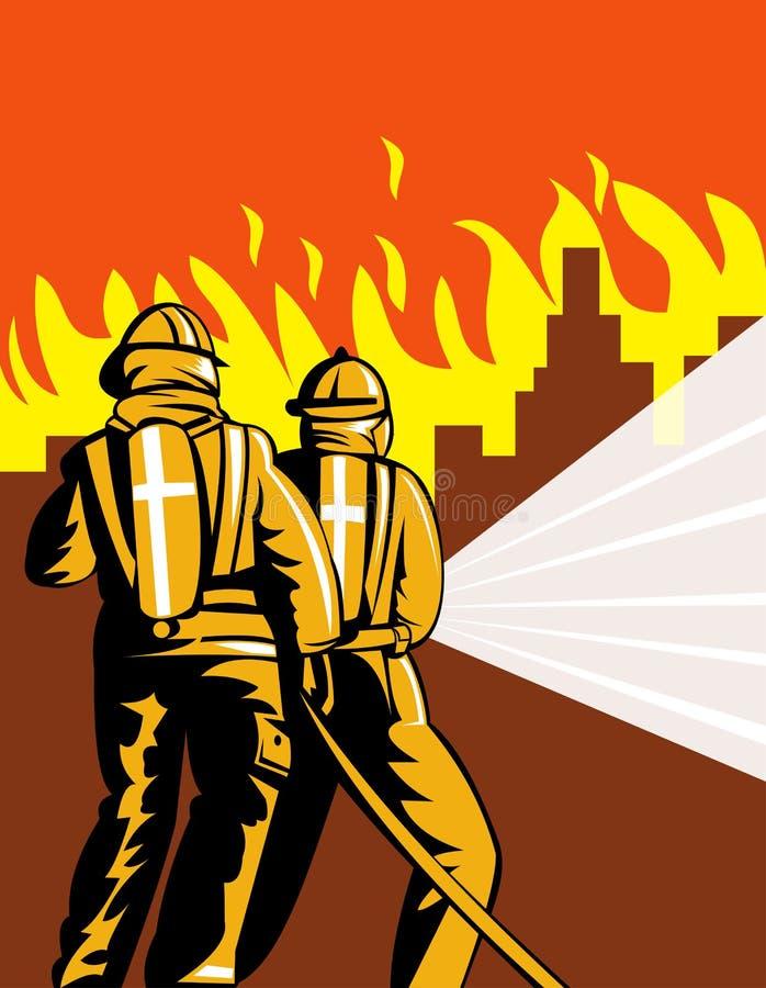 Deux pompiers combattant la ville sur l'incendie illustration stock