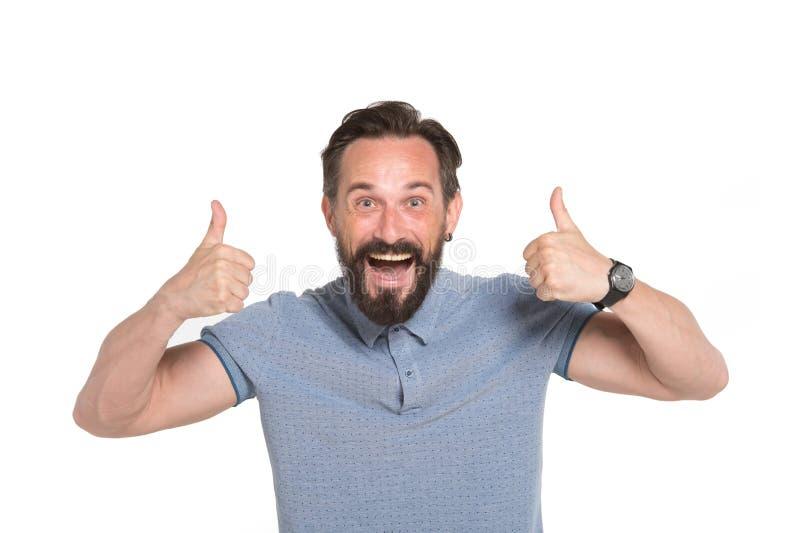 Deux pouces par les deux mains Homme émotif avec deux pouces d'isolement sur le fond blanc Émotion heureuse de visage de type bar photographie stock