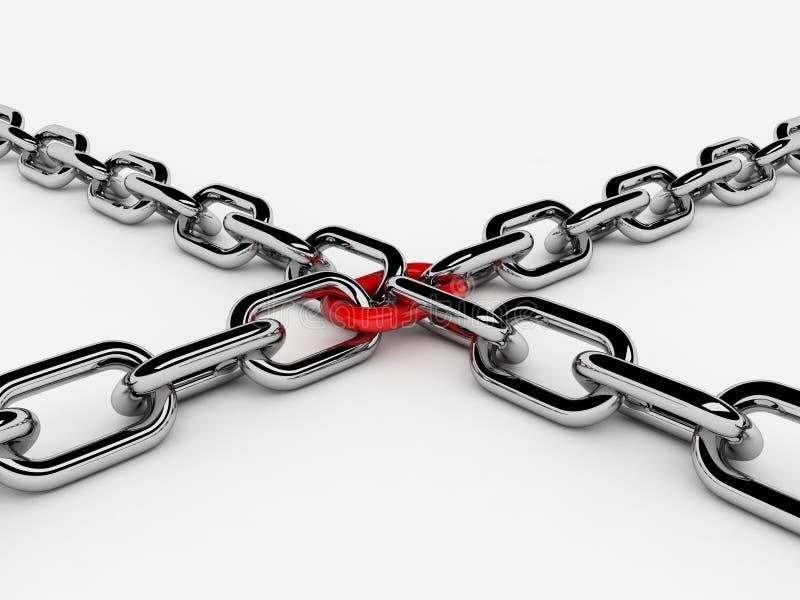 Deux réseaux 3d se sont connectés à une tige illustration libre de droits
