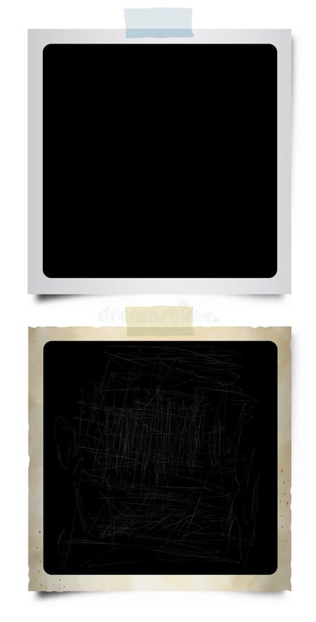 Deux rétro photographies en blanc illustration stock
