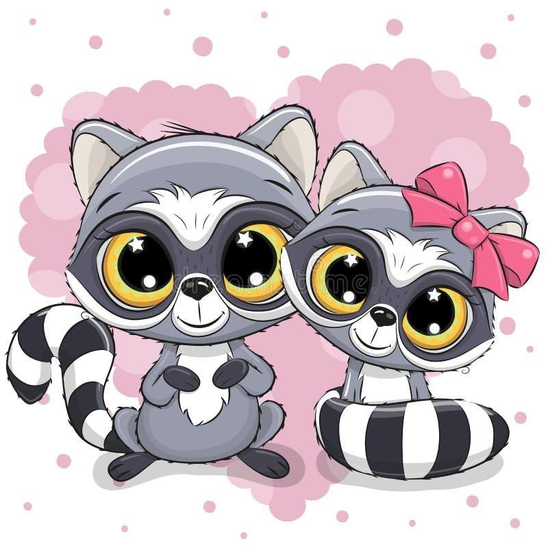 Deux ratons laveurs mignons sur un fond de coeur illustration stock