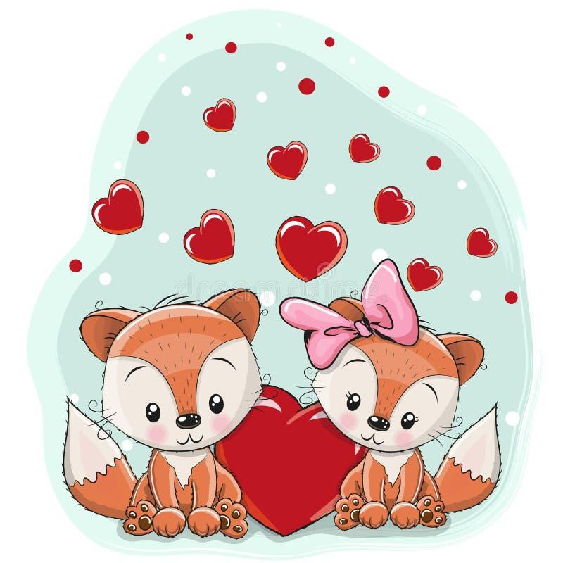 Deux renards avec le coeur illustration libre de droits