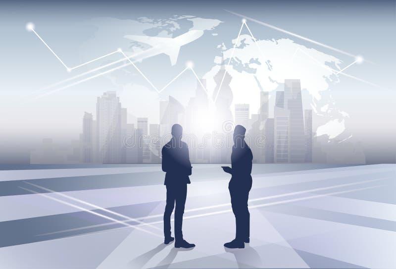 Deux ressources humaines d'hommes d'affaires de silhouette d'homme d'affaires au-dessus de concept de vol de voyage de carte du m illustration stock