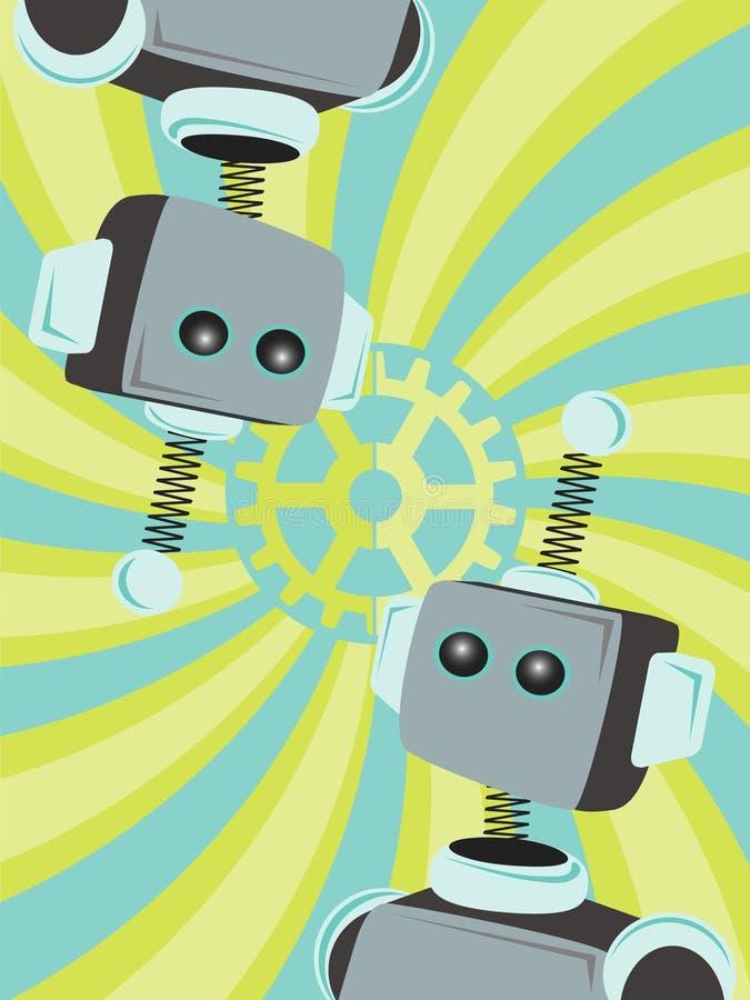 Deux robots abrègent regarder le fond de remous de trains illustration de vecteur