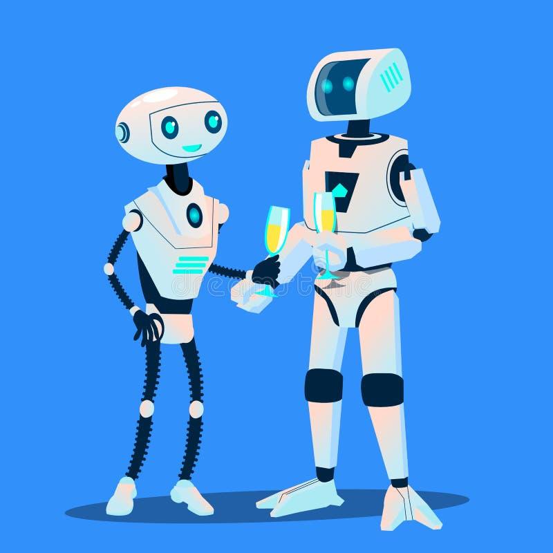 Deux robots dans l'amour ont lieu la date avec des verres de Champagne Vector Illustration d'isolement illustration libre de droits
