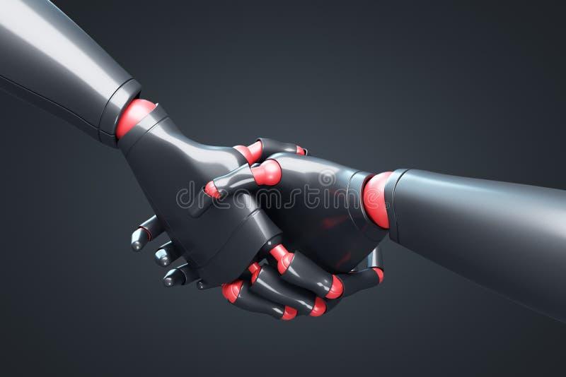 Deux robots noirs se serrant la main, plan rapproché noir illustration de vecteur