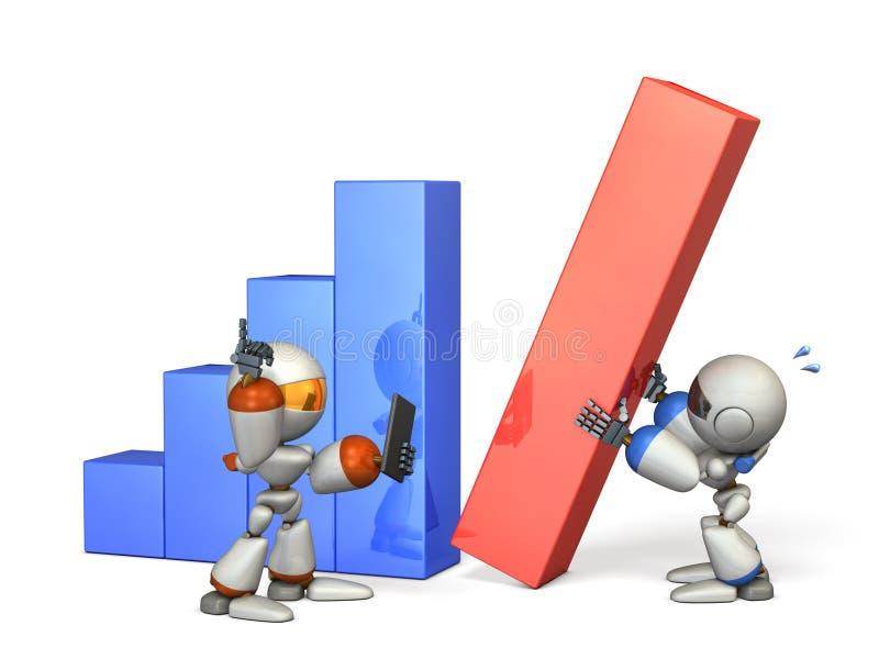 Deux robots ont donné de bons résultats dans la coopération illustration de vecteur