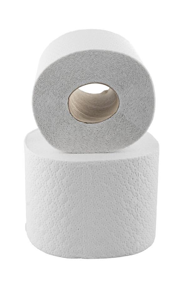 Deux rouleaux de papier hygiénique d'isolement sur le blanc photographie stock
