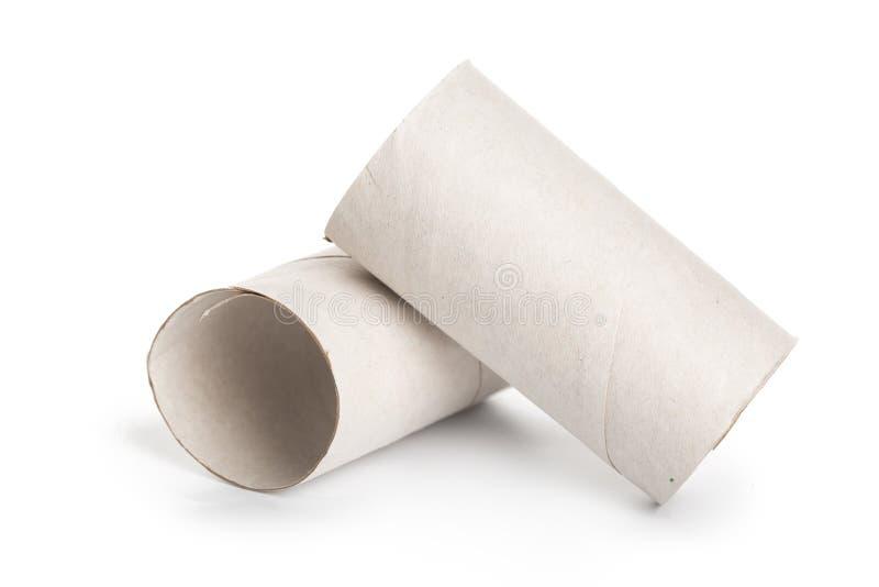 Deux rouleaux de papier hygiénique sur le fond blanc photo stock