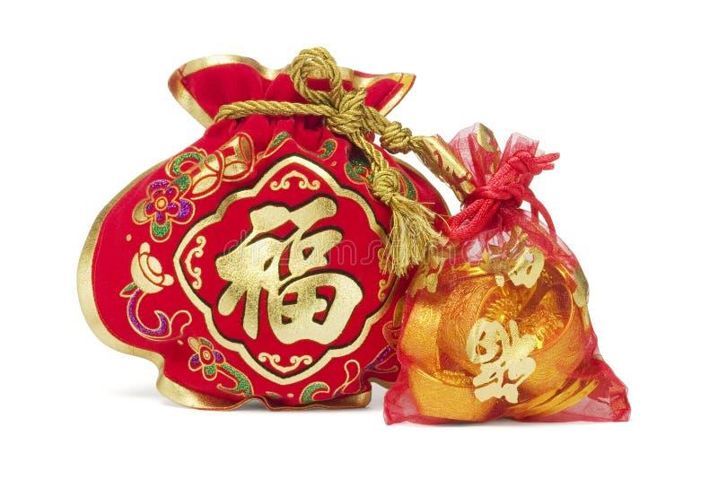 Deux sacs chinois de cadeau d'an neuf image libre de droits