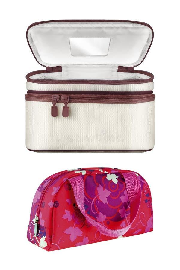 Deux sacs cosmétiques de voyage de textile, d'isolement sur le fond blanc chemins de découpage compris image stock