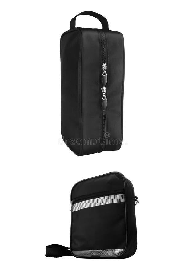 Deux sacs cosmétiques noirs de voyage, d'isolement sur le fond blanc chemins de découpage compris images stock