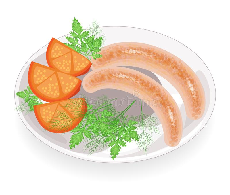 Deux saucisses d'une plaque Légumes, tomate et verts de garniture d'aneth et de persil Plat chaud pour le petit déjeuner, déjeune illustration libre de droits
