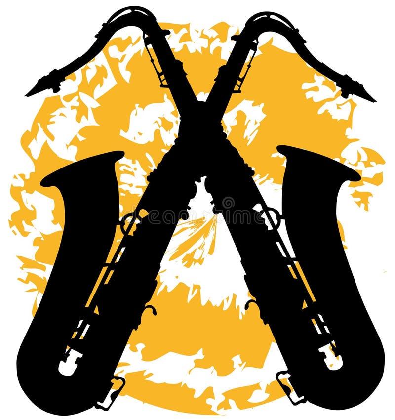 Deux saxophones croisés illustration de vecteur
