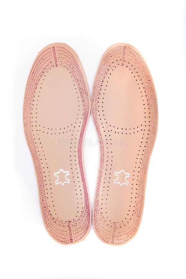 Deux semelles intérieures en cuir pour des chaussures sur un fond blanc images libres de droits