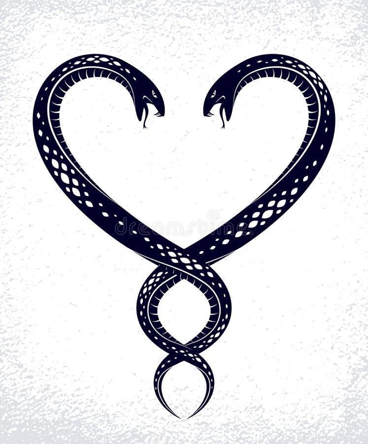 Deux serpents dans une forme de coeur, amour est concept cruel, couples d'amants discutant, querelles dans les relations, embl?me illustration de vecteur
