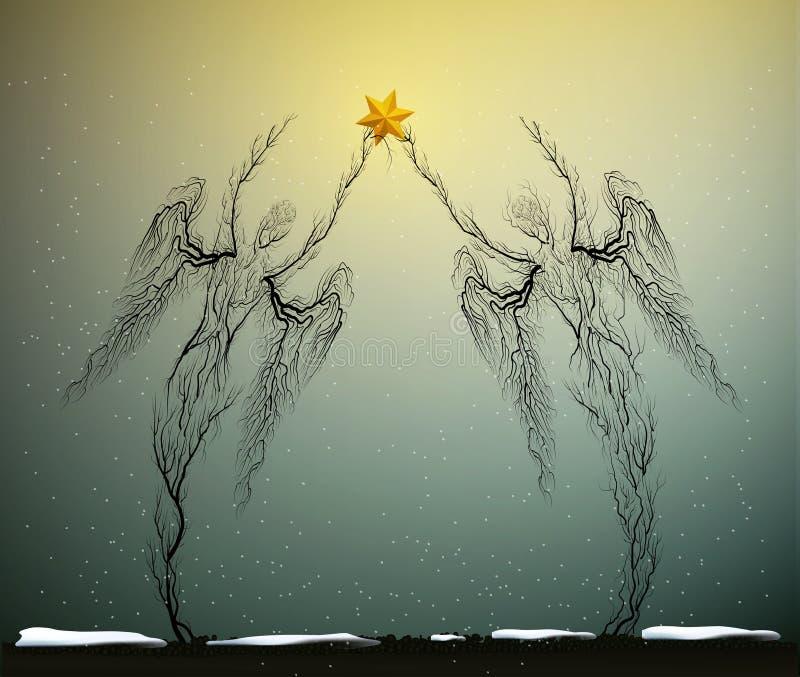 Deux silhouettes d'arbre comme des anges tenant Noël rouge se tiennent le premier rôle par temps de chute de neige, le concept d' illustration libre de droits