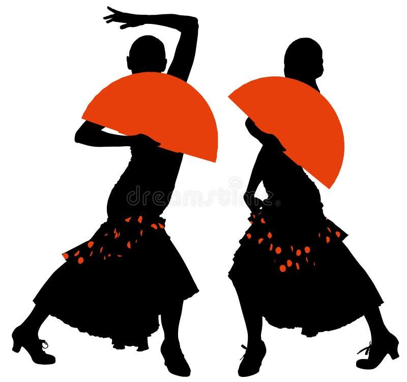 Deux silhouettes de danseur féminin de flamenco illustration stock