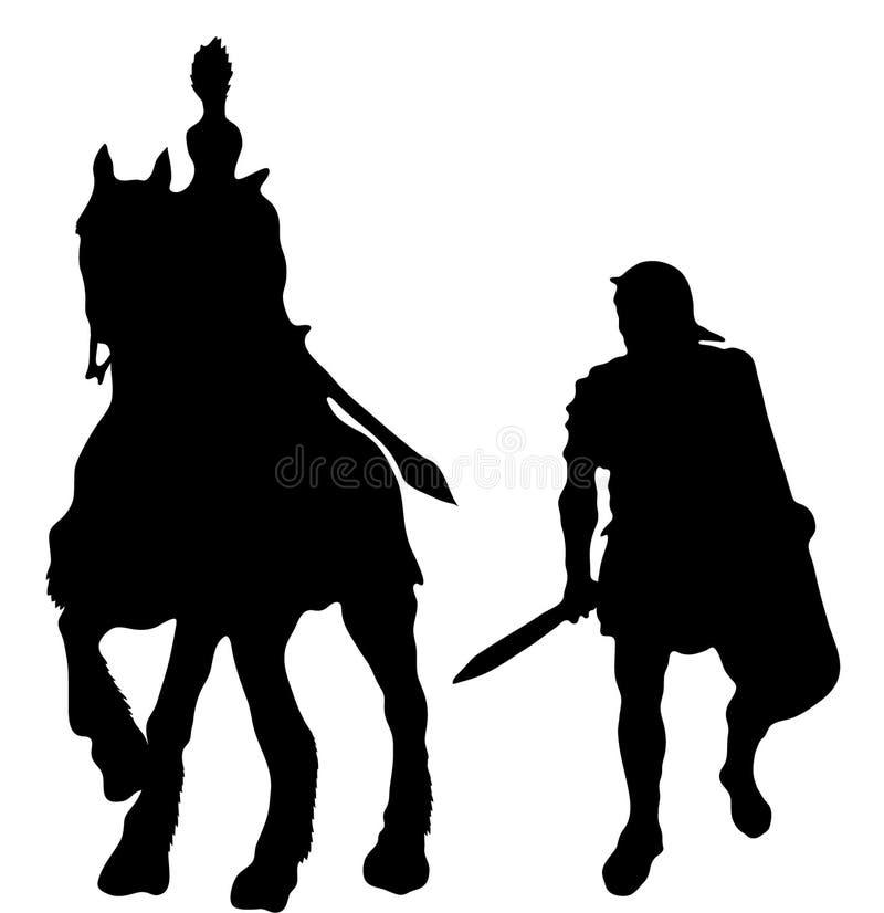 Deux silhouettes des soldats du grec ancien illustration libre de droits