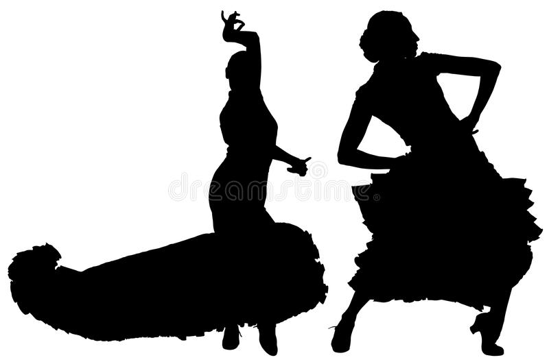 Deux silhouettes noires de danseur féminin de flamenco illustration de vecteur