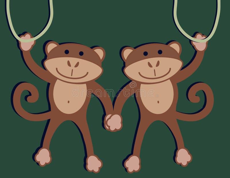 Deux singes illustration de vecteur
