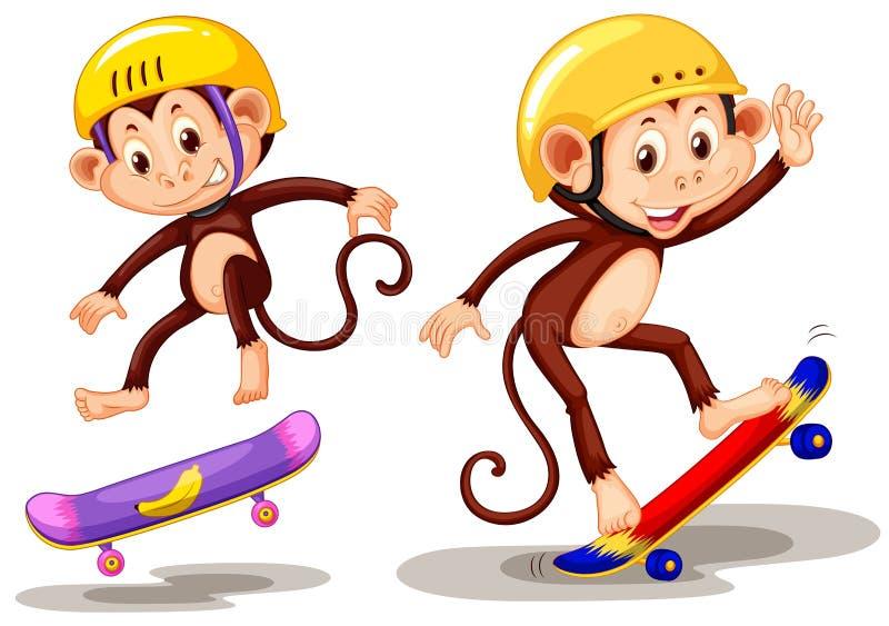Deux singes jouant la planche à roulettes illustration libre de droits