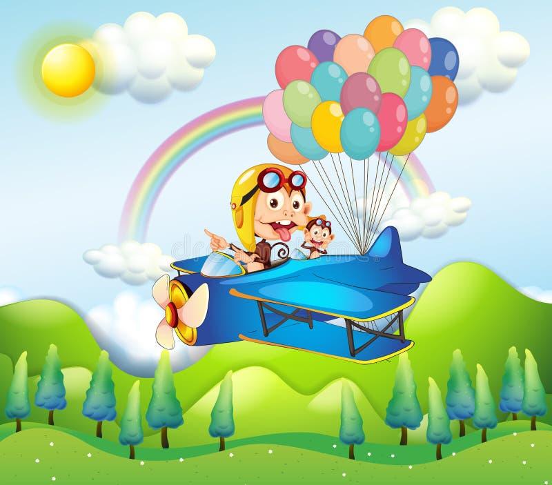 Deux singes montant dans un avion avec les ballons colorés illustration stock