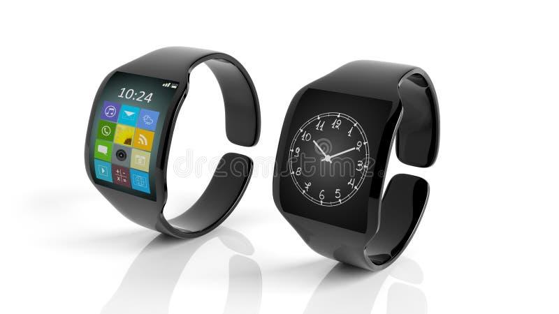 Deux smartwatches avec des apps et horloge sur l'écran illustration libre de droits