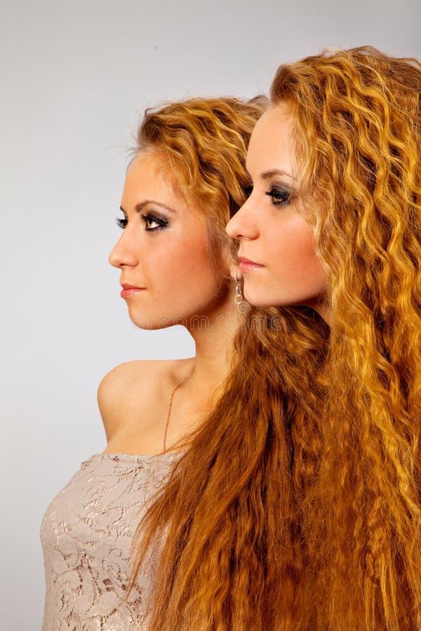 Deux soeurs jumellent des amies de femmes images libres de droits