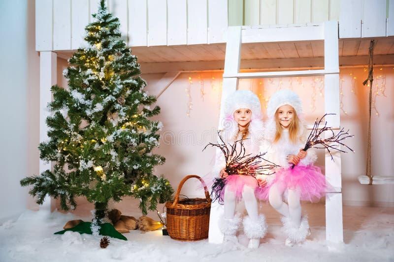 Deux soeurs jumelles dans des robes de chienchien à l'avant d'une maison en bois blanche jouent Filles et caniches décorés pour N photos stock