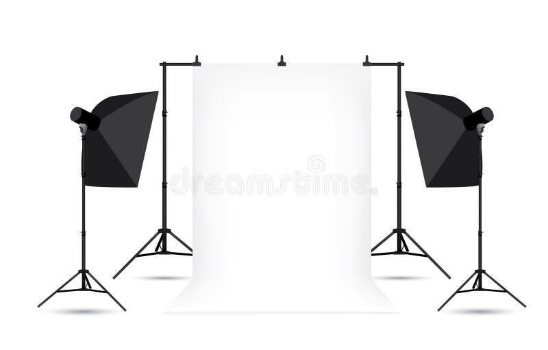 Deux softboxes et fond blanc de photo   illustration de vecteur