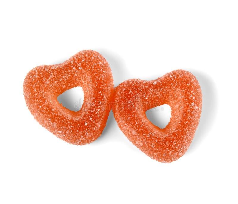 Deux sucreries colorées de gelée dans la forme de coeur photos stock