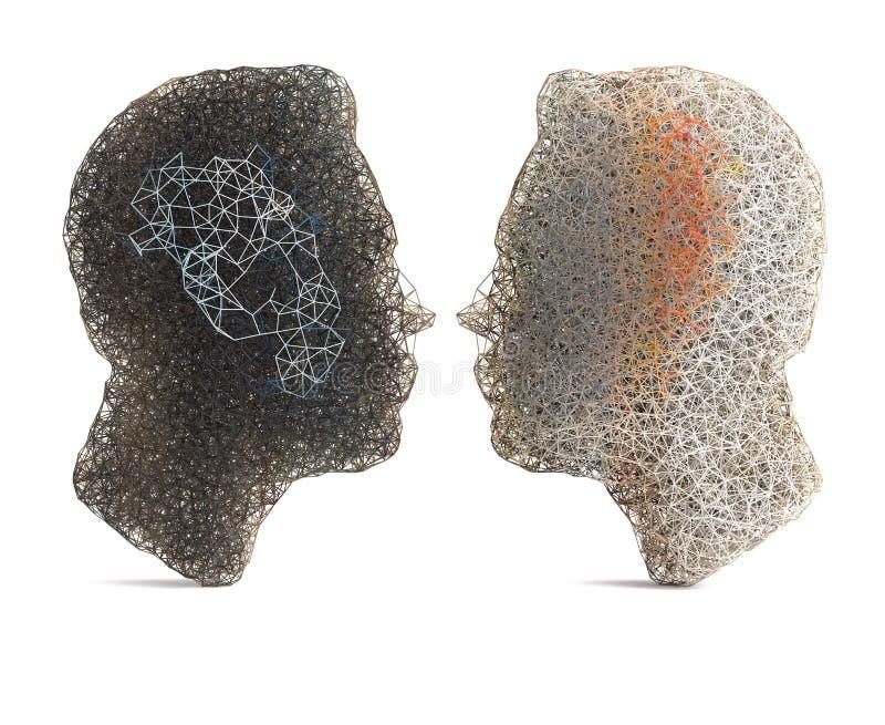 Deux têtes de wireframe illustration de vecteur