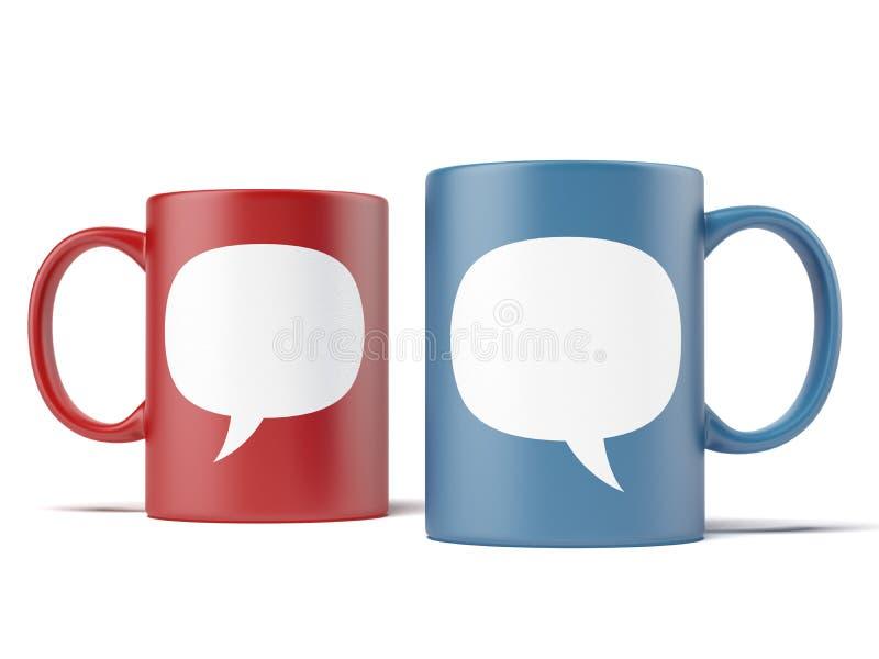 Deux tasses avec des discours de bulle illustration de vecteur