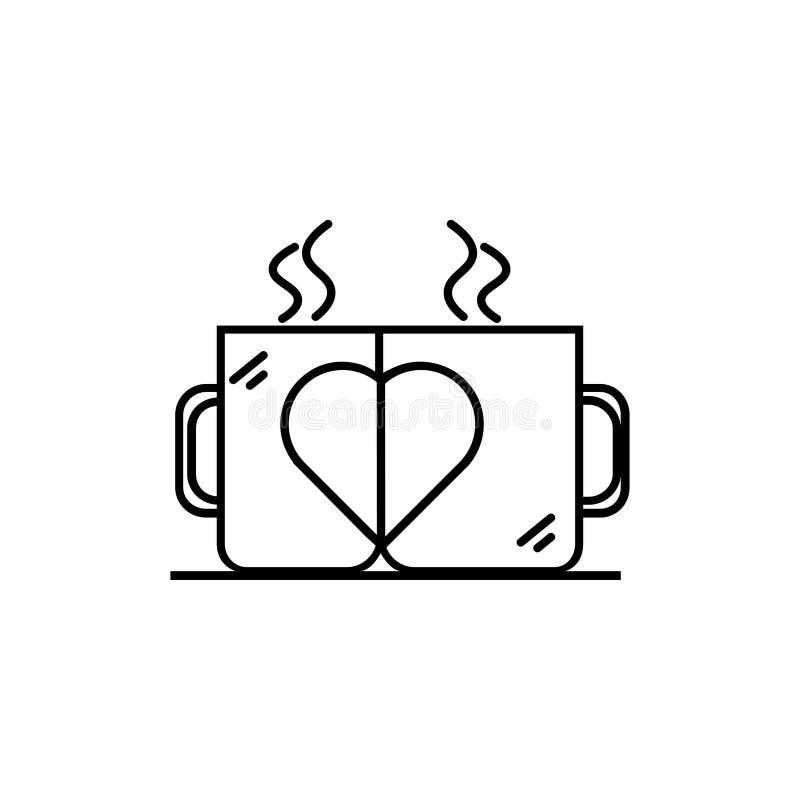 Deux tasses avec une icône de coeur illustration stock