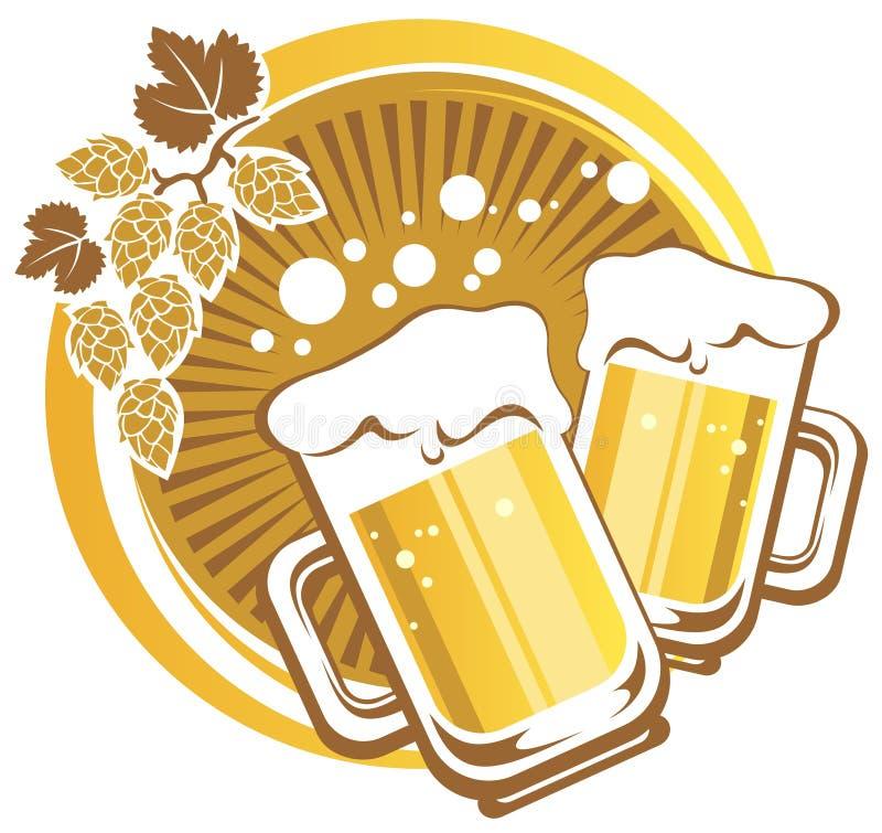 Deux tasses de bière illustration stock
