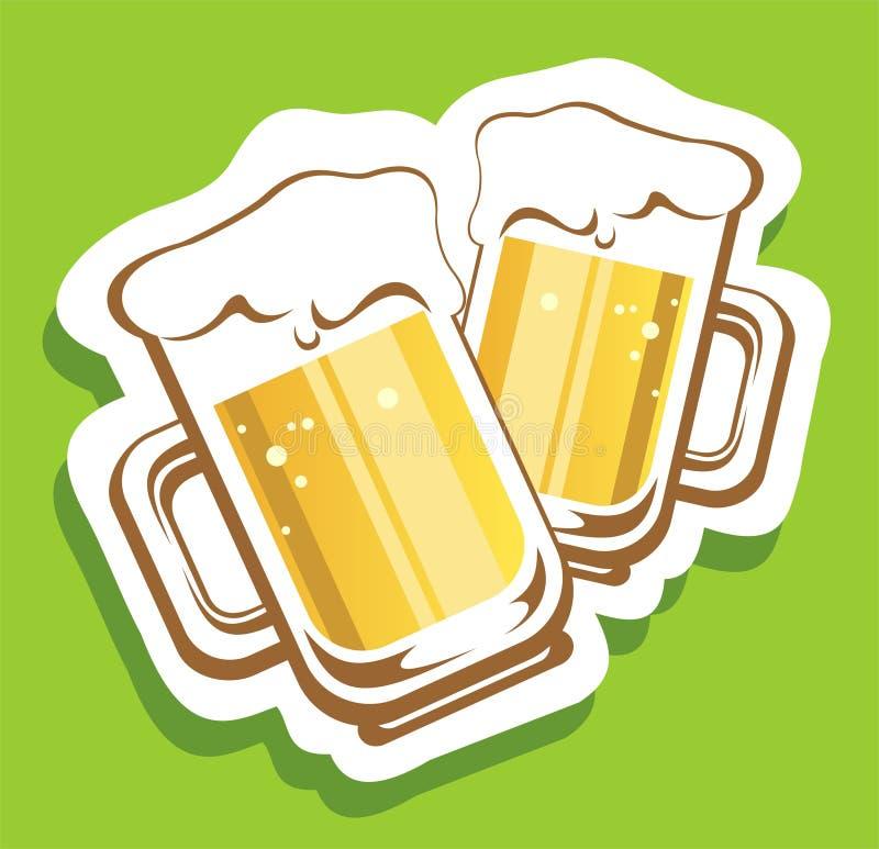 Deux tasses de bière illustration de vecteur