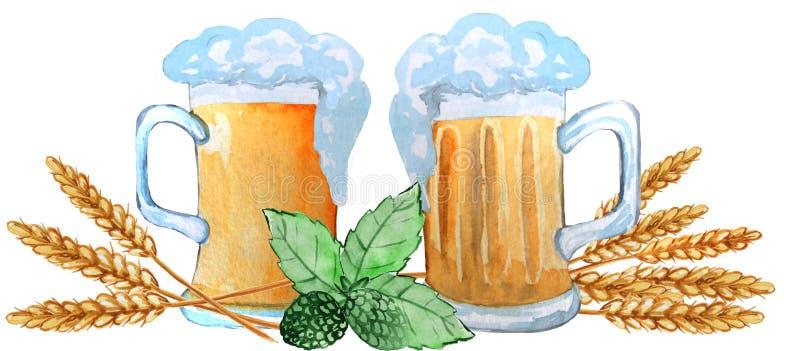 Deux tasses de bière avec des oreilles de blé, houblon part sur un fond blanc illustration d'aquarelle pour des affiches, copies illustration de vecteur