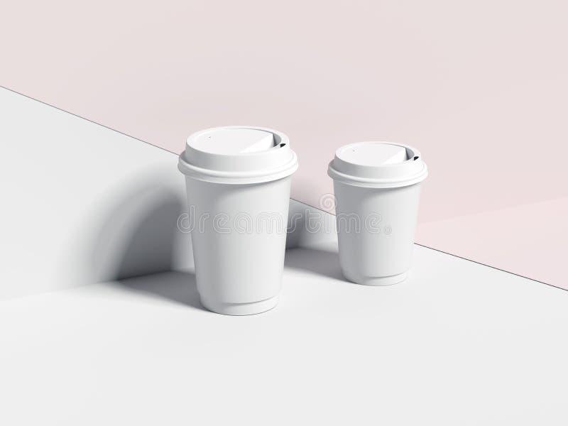 Deux tasses de café blanches de papier blanc rendu 3d image libre de droits