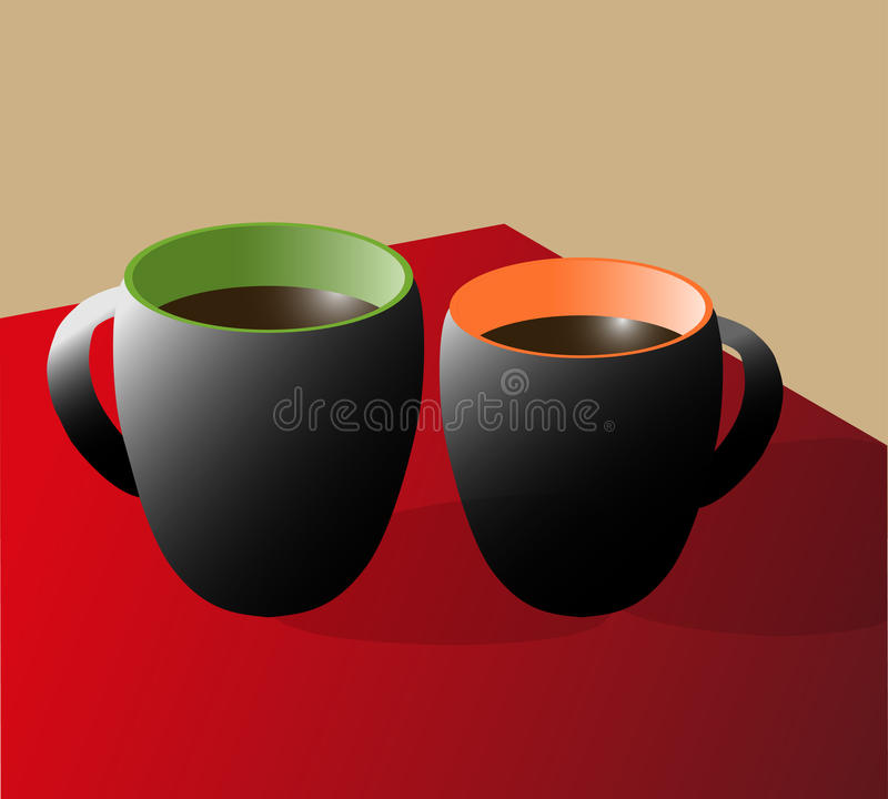 Deux tasses de café noires sur une table rouge image libre de droits