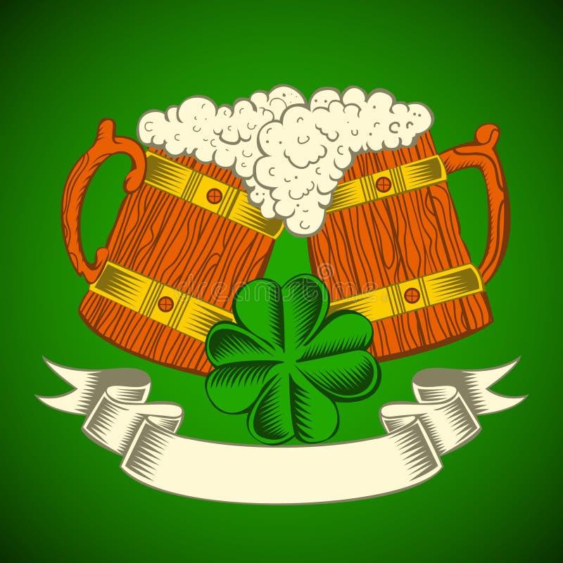 Deux tasses en bois de bière sur un fond vert illustration de vecteur