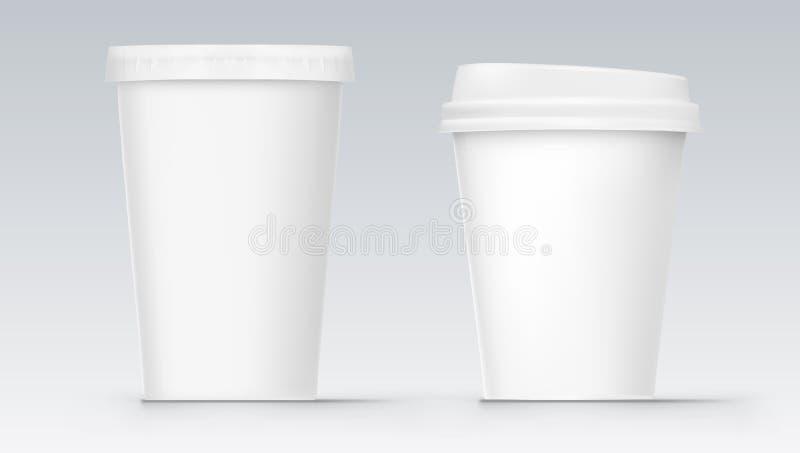 Deux tasses en plastique de kola de blanc vide blanc illustration stock