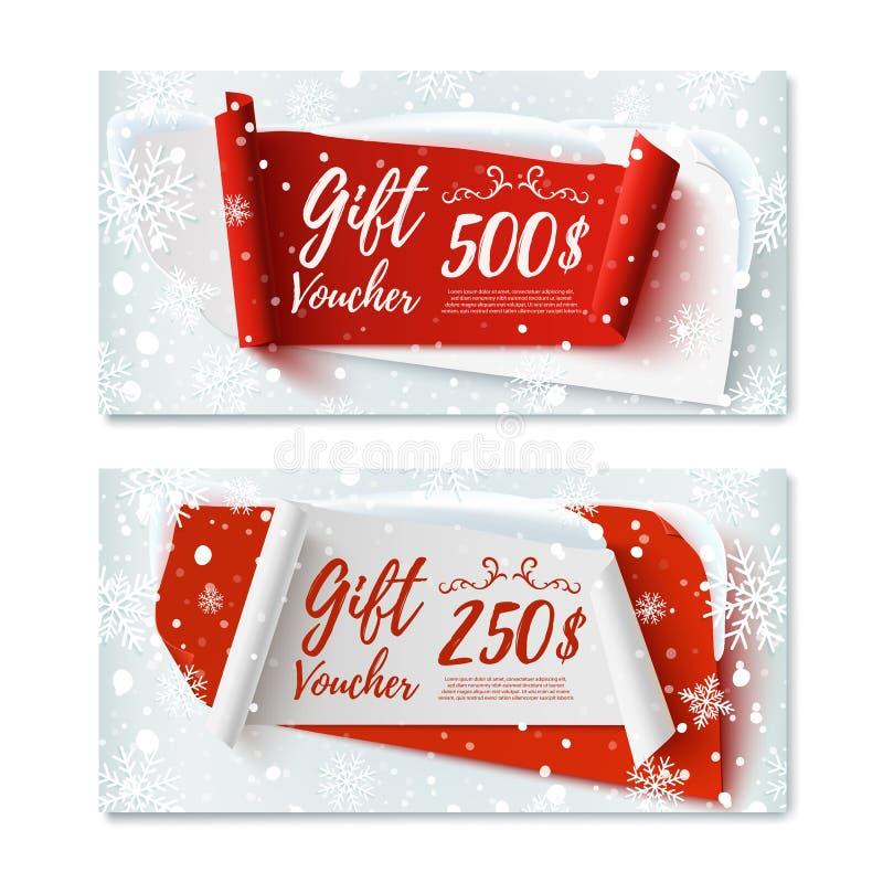 Deux, temps de Noël, bons de cadeau d'hiver illustration libre de droits