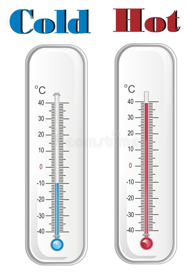Deux thermomètres avec deux mots illustration de vecteur