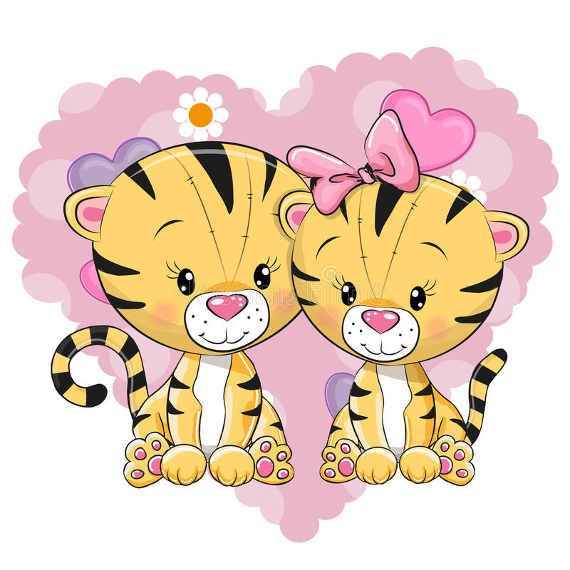 Deux tigres mignons illustration stock