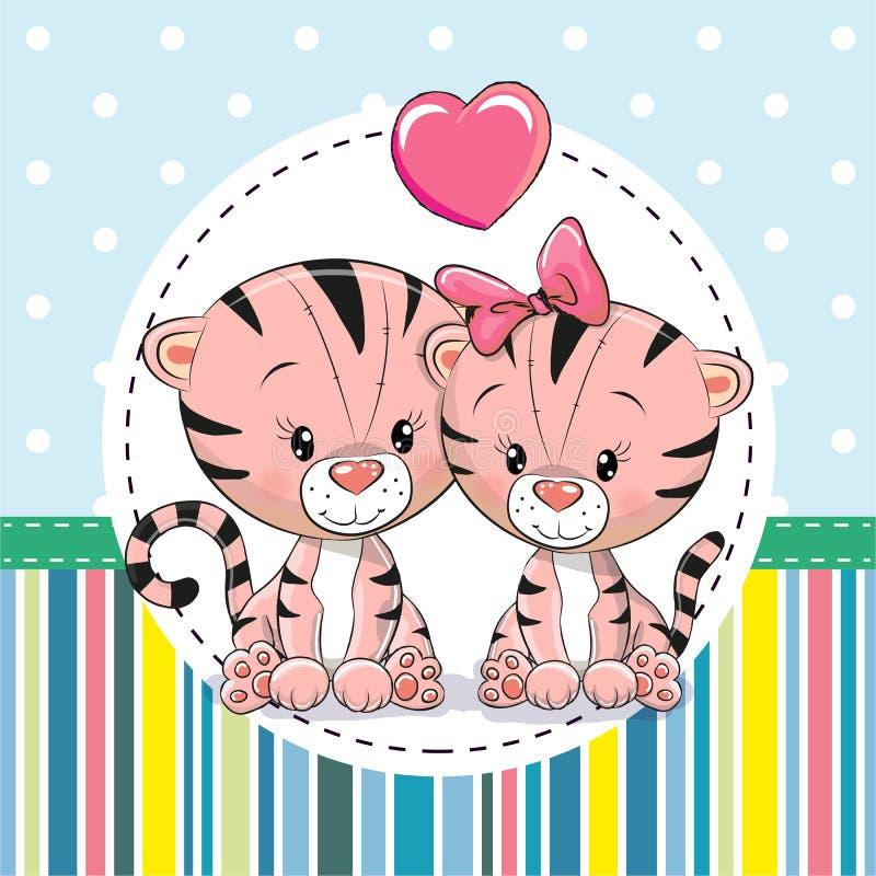 Deux tigres mignons de bande dessinée illustration de vecteur