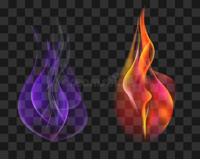 Deux torches dans le vecteur courant réglé de flamme rouge et bleue de gaz illustration stock
